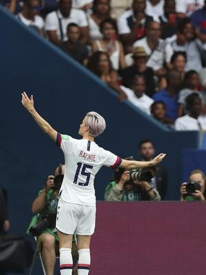 Megan Rapinoe is the tournament's joint-leading scorer with five goals (Francisco Seco/AP)