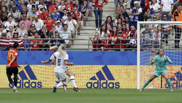 Jennifer Hermoso took advantage of an awful defensive error to score for Spain against the United States (Alessandra Tarantino/AP)