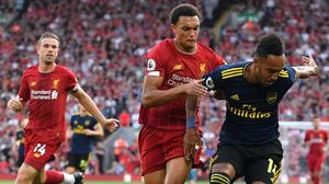 Liverpool's Trent Alexander-Arnold (centre) and Arsenal's Pierre-Emerick Aubameyang have impressed this season (Anthony Devlin/PA)
