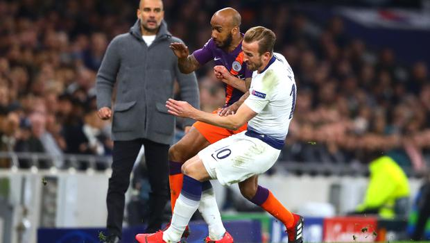 Harry Kane limped off after this clash with Manchester City's Fabian Delph seven weeks ago but is now fit and eager to play. (PA Wire)