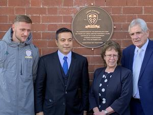 Leeds captain Liam Cooper, Leeds chairman Andrea Radrizzani, the leader of Leeds City Council Cllr Judith Blake and former Leeds defender Norman Hunter during the 100 years plaque unveiling at Salem Chapel (Mark Walker/PA)