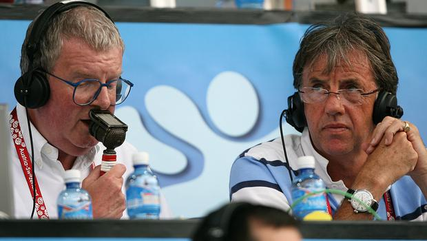 Motson (left) with co-commentator Mark Lawrenson at a Euro 2008 match in Basel