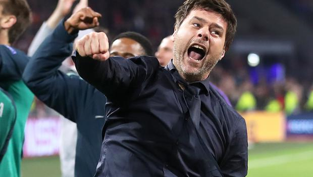 Pochettino celebrates after the final whistle during the UEFA Champions League semi-final against Ajax, as Spurs went through to the Madrid showpiece (Adam Davy/PA)