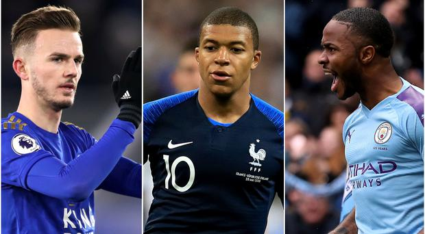 James Maddison, left, and Raheem Sterling, right, are among the England players on Kylian Mbappe's trail in the rankings (Nick Potts/Adam Davy/Martin Rickett/PA)