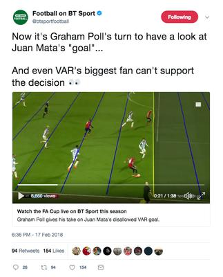 Screen grab taken from the Twitter account of Football on BT Sport