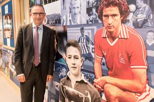 Class act: Martin O'Neill at his former school, St. Columb's College in Derry