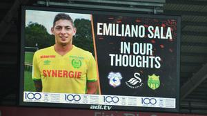 A tribute to Emiliano Sala during the FA Cup fourth round match at the Liberty Stadium (Simon Gallowa/PA)
