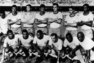 A line up of the 1970 Brazil team: Standing left to right: Carlos, Alberto, Leao, Brito, Fontana, Piazza, Marcos and Antonio. Below : Jairzinho, Direfu, Lopez, Pele, Gerson and Edu (PA)