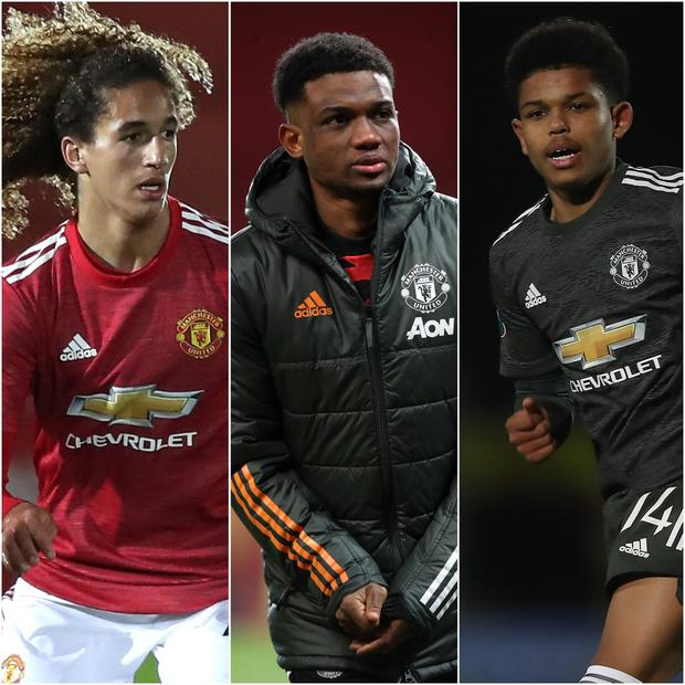 Hannibal Mejbri, Amad Diallo and Shola Shoretire are impressing at Manchester United (PA)