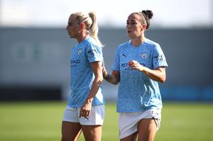 Manchester City pair Alex Greenwood, left, and Lucy Bronze have returned to the WSL from Lyon (Nick Potts/PA)