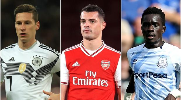 Julian Draxler, Granit Xhaka and Idrissa Gueye have been linked with moves (Mike Egerton/ Adam Davy/ Mark Kerton/PA)
