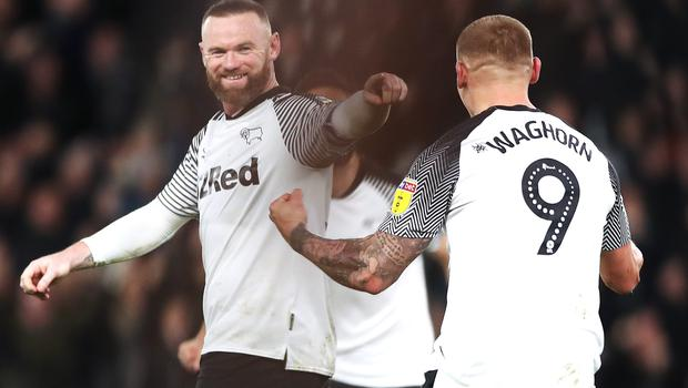 Wayne Rooney, pictured celebrating a goal for Derby against Stoke, will face former club Manchester United in the FA Cup on March 5.