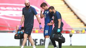 Chelsea captain Cesar Azpilicueta is substituted after suffering a hamstring injury during the Heads Up FA Cup final defeat against Arsenal at Wembley.
