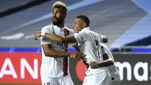 PSG's Eric Maxim Choupo-Moting (left) celebrates with team-mate Kylian Mbappe after scoring the winner (David Ramos/AP/PA)