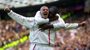 David Beckham celebrates after sending England to the 2002 World Cup (Phil Noble/PA)