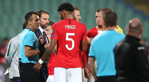 England manager Gareth Southgate (second left) was sad to see Tyrone Mings' debut overshadowed by racism (Nick Potts/PA)