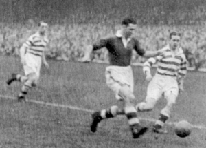 Infamous clash: Linfield and Belfast Celtic playing in the 'fuming cauldron of Windsor Park' in 1948