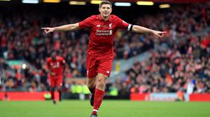 Steven Gerrard, pictured celebrating scoring during a Legends match at Anfield, believes Liverpool's current squad have the mental strength to deliver sustained success.