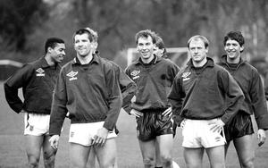 Steve McMahon, second from right, scored four in the rout of Fulham (PA)