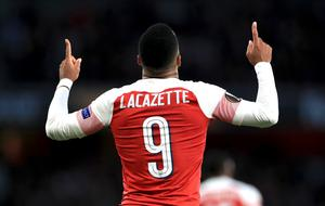 Arsenal's Alexandre Lacazette celebrates (Mike Egerton/PA)