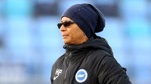 Brighton and Hove Albion's manager Hope Powell wants relegation from the WSL scrapped this season. (Nigel French/PA)