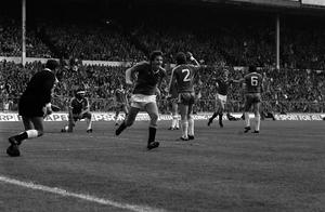 Norman Whiteside, centre, also scored in the final against Brighton (PA)