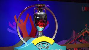 A view of a giant Euro 2020 trophy (Mike Egerton/PA)