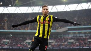 Watford's Gerard Deulofeu celebrates scoring his side's third goal of the game during the FA Cup semi final match at Wembley Stadium, London.
