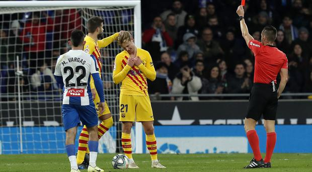 Barcelona midfielder Frankie De Jong was sent off in the 2-2 draw at Espanyol (Joan Monfort/AP)