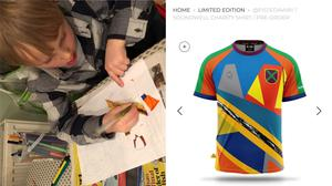 Evan Dunmore, 5, designing a football shirt, and his shirt on sale (Nick Dunmore/Hope and Glory Sportswear)