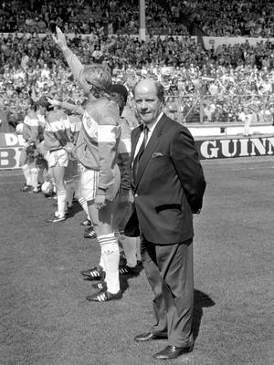 Jim Smith, pictured on the Wembley pitch alongside his QPR team before the League Cup final against Oxford (PA).