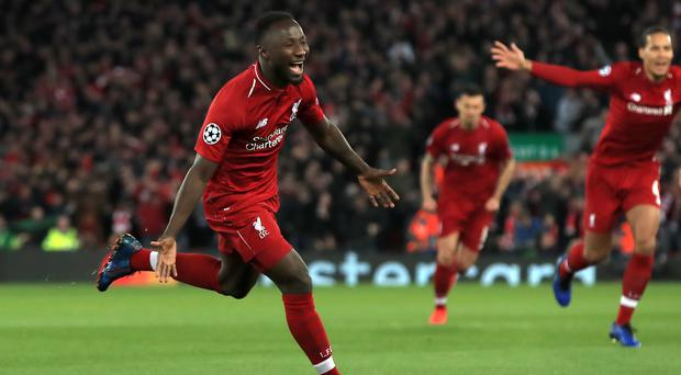 Liverpool's Naby Keita celebrates scoring his side's first goal of the game during the UEFA Champions League quarter final, first leg match at Anfield, Liverpool.