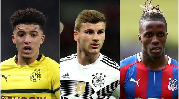 Jadon Sancho, Timo Werner and Wilfried Zaha are in the latest gossip (Adam Davy/Nick Potts/Nigel French/PA)
