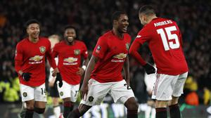 Manchester United's Odion Ighalo (second right) scored twice in their win at Derby (Martin Rickett/PA)