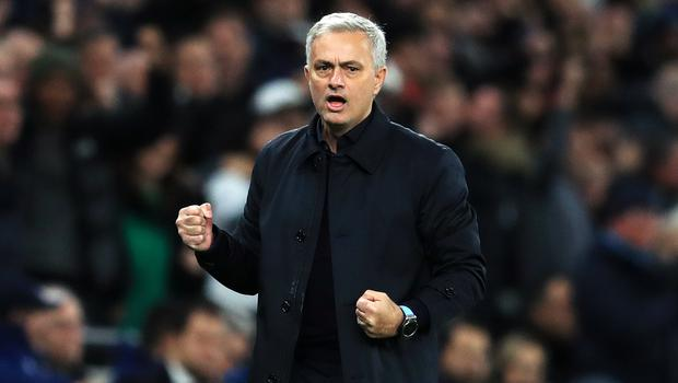 Tottenham Hotspur manager Jose Mourinho celebrates during last night's game.