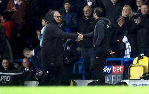 Frank Lampard and Marcelo Bielsa shake hands prior to kick-off (Simon Cooper/PA)