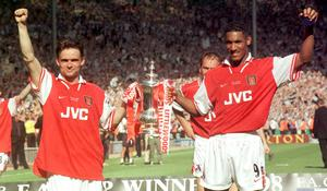 Marc Overmars, left, and Nicolas Anelka both scored in Arsenal's victory against Newcastle in the 1998 final (Sean Dempsey/PA)