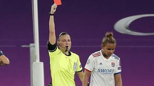 Nikita Parris was sent off and will miss the final (Villar Lopez/Pool via AP)