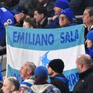 Cardiff fans hold up a banner in tribute to Emiliano Sala during a Premier League match against Watford (Simon Galloway/PA)