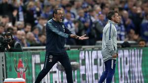 Chelsea head coach Maurizio Sarri, left, was angered when Kepa Arrizabalaga declined to be substituted in Sunday's Carabao Cup final (Nick Potts/PA)
