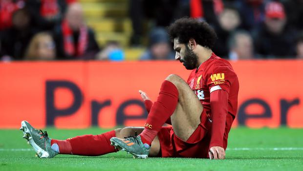 Jurgen Klopp says he is not worried about the fitness of Mohamed Salah, who has been troubled by an ankle injury (Peter Byrne/PA Images).