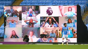 With no fans in the stadium, Manchester City erected a fan wall inside the Etihad (Laurence Griffiths/NMC Pool/PA)