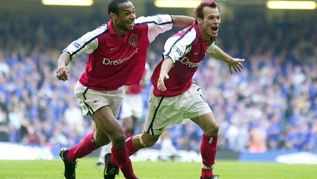 Ljungberg scored in the FA Cup final for a second year in a row as Arsenal beat Chelsea in 2002. (Rui Vieira/PA)