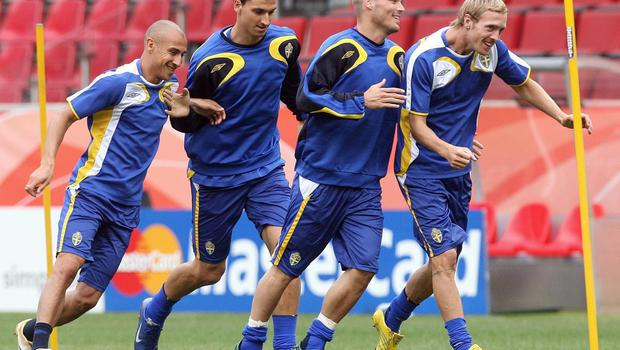 Ljungberg won Sweden's player of the year award in 2006 before compatriot Zlatan Ibrahimovic, second left, took the gong for the next decade. (Martin Rickett/PA)