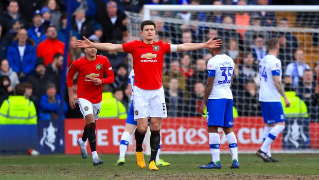 Manchester United captain Harry Maguire scored the first goal of the 6-0 win at Tranmere (Simon Cooper/PA)
