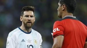 Lionel Messi was furious with referee Roddy Zambrano (AP Photo/Victor R. Caivano)
