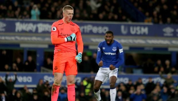 Pickford celebrates after saving a penalty for Everton against West Ham (Richard Sellers/Empics)
