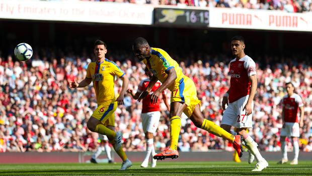 Christian Benteke was among the scorers as Crystal Palace left Arsenal with all three points in April 2019. (Bradley Collyer/PA)