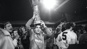 Tottenham Hotspur's young goalkeeper Tony Parks with the UEFA Cup trophy at White Hart Lane in London (PA).