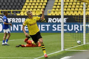 Dortmund's Erling Haaland saluted the empty stands after scoring on Saturday (Martin Meissner/PA)